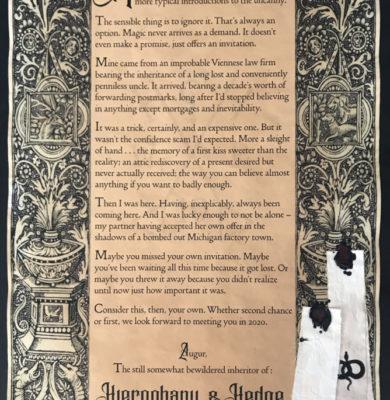Blink Hierophany & Hedge Poster October 2020